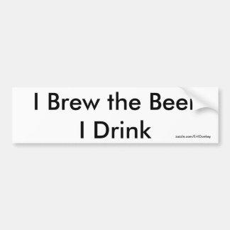 Je brasse la bière que je bois le blanc d'adhésif  autocollant pour voiture