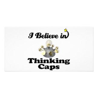 je crois aux casquettes de pensée photocarte customisée