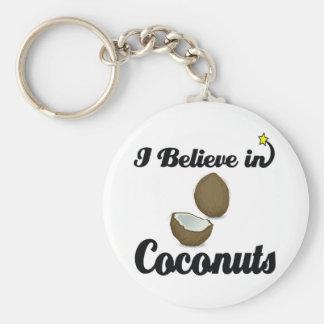 je crois aux noix de coco porte-clé rond