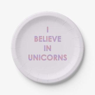 Je crois en licornes roses et sucrerie de coton assiettes en papier