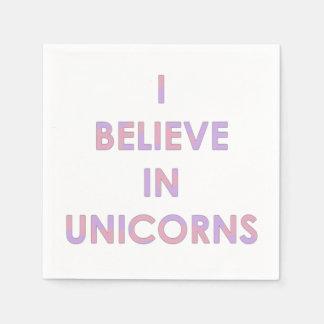 Je crois en licornes roses et sucrerie de coton serviettes jetables