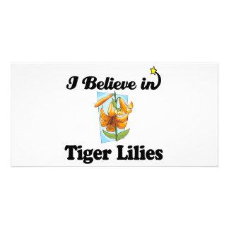 je crois en lis tigrés photocarte personnalisée