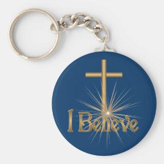 Je crois le porte - clé de croix d'étoile d'or porte-clés