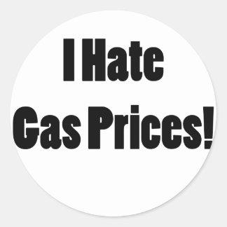 Je déteste des prix du gaz ! adhésif rond