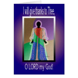 Je donnerai grâce à Thee, SEIGNEUR d'O mon Dieu ! Cartes De Vœux