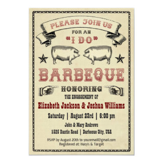 JE FAIS BBQ - invitation vintage de rôti de porc Carton D'invitation 12,7 Cm X 17,78 Cm