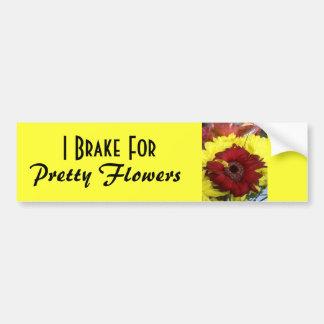 Je freine pour de jolies fleurs autocollant pour voiture
