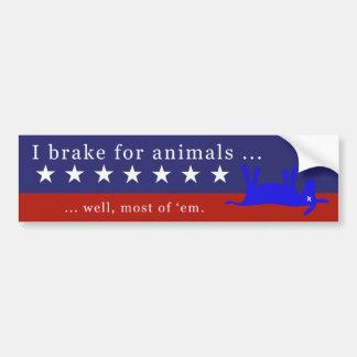Je freine pour des animaux (aucuns ânes) 2 autocollant pour voiture
