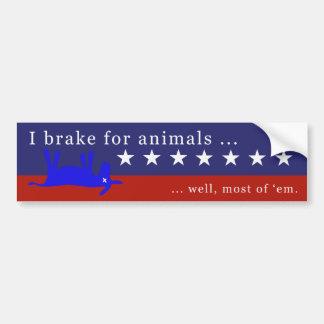 Je freine pour des animaux (aucuns ânes) 4 autocollant pour voiture