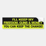 Je garderai ma liberté, armes à feu et argent - Ob Autocollant Pour Voiture