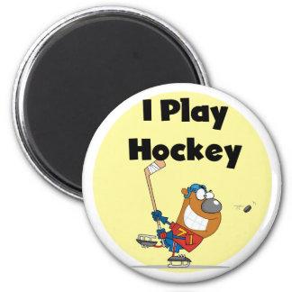 Je joue des T-shirts et des cadeaux d'hockey Aimant Pour Réfrigérateur