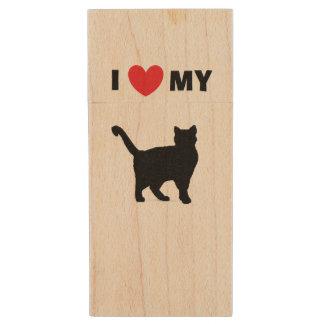"""""""Je la commande instantanée en bois aime mon chat"""" Clé USB"""