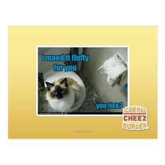 Je maed le fourrure pelucheuse vous carte postale