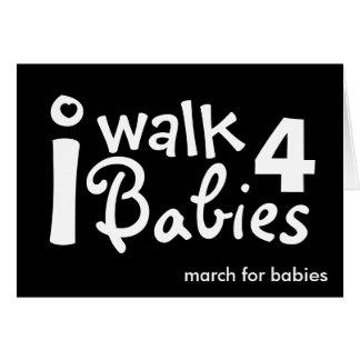 je marche pour la carte de note de bébés