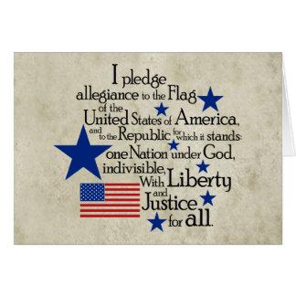 Je mets en gage l'allégeance au drapeau cartes de vœux