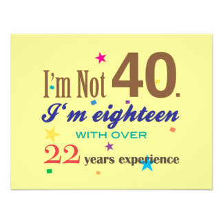 Je n ai pas 40 ans - anniversaire drôle carton d'invitation