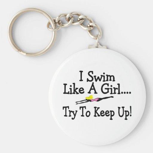 Je nage comme un essai de fille pour continuer porte-clef