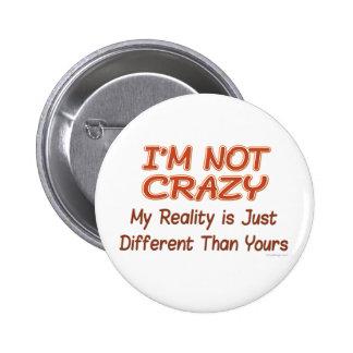 Je ne suis pas les boutons fous badges avec agrafe