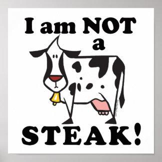 Je ne suis pas les droits des animaux d'un bifteck affiche
