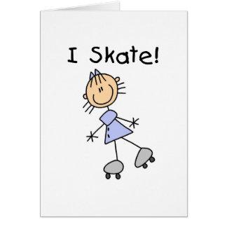 Je patine carte de fille de bâton