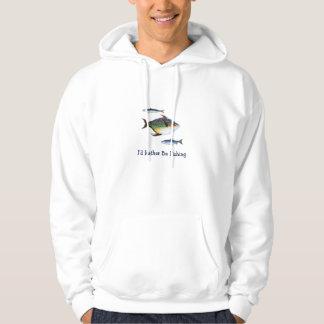 Je pêcherais plutôt, trois pêche, énonciation veste à capuche