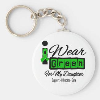 Je porte la fille verte de ruban (rétro) - porte-clé rond