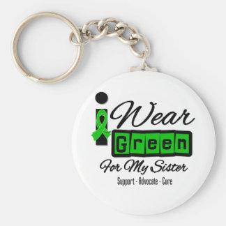 Je porte la soeur verte de ruban (rétro) - porte-clé rond