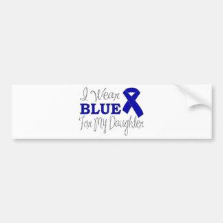 Je porte le bleu pour ma fille (le ruban bleu) autocollant pour voiture