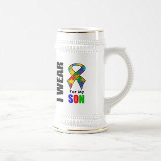 Je porte le ruban d'autisme pour mon fils tasse à café