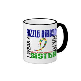 Je porte le ruban de puzzle pour mon autisme de la tasses à café