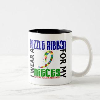 Je porte le ruban de puzzle pour mon autisme des n mugs à café