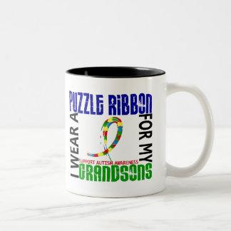 Je porte le ruban de puzzle pour mon autisme des p mug