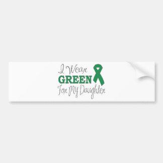 Je porte le vert pour ma fille (le ruban vert) autocollant pour voiture