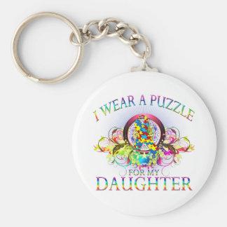 Je porte un puzzle pour ma fille (florale) porte-clé rond