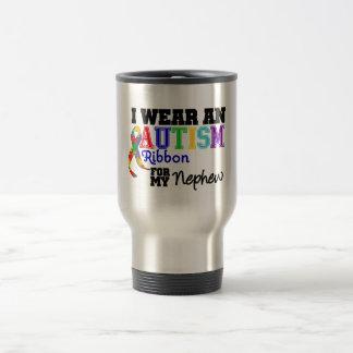 Je porte un ruban d'autisme pour mon neveu mug de voyage en acier inoxydable