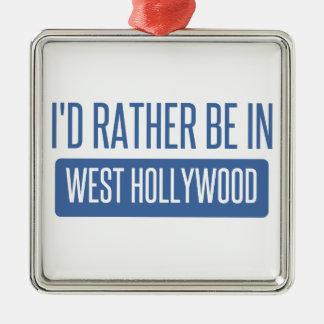 Je serais plutôt à Hollywood occidental Ornement Carré Argenté
