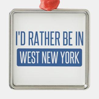 Je serais plutôt à New York occidental Ornement Carré Argenté