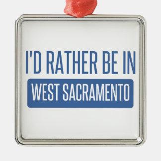 Je serais plutôt à Sacramento occidental Ornement Carré Argenté