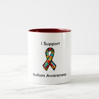 Je soutiens la sensibilisation sur l'autisme mug bicolore
