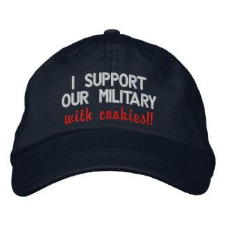 Je soutiens nos militaires avec des biscuits ! ! casquette brodée