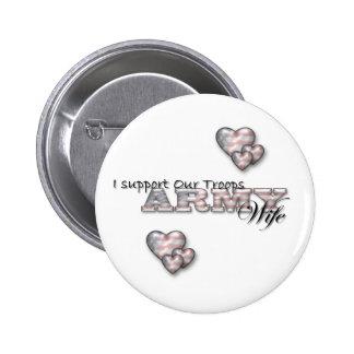 Je soutiens notre Épouse-goupille de troupes/armée Pin's Avec Agrafe