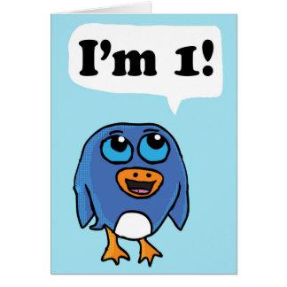 Je suis 1 carte d'anniversaire de pingouin