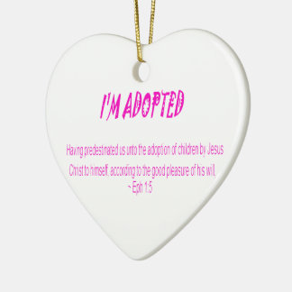 Je suis adopté ornement cœur en céramique
