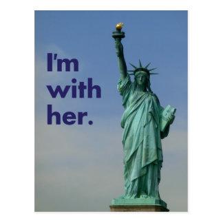 Je suis avec elle. Statue de la liberté Carte Postale