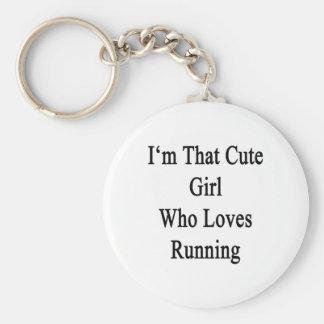 Je suis cette fille mignonne qui aime courir porte-clé rond