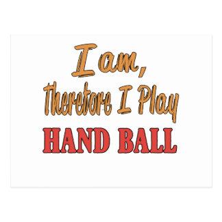 Je suis donc moi joue la boule de main carte postale