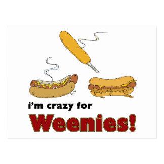 Je suis fou pour des Weenies ! Hot-dog de piment Carte Postale