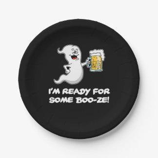 Je suis prêt pour le fantôme drôle et la bière de assiettes en papier