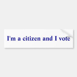 Je suis un citoyen et je vote autocollant pour voiture