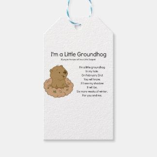 Je suis un petit Groundhog Étiquettes-cadeau